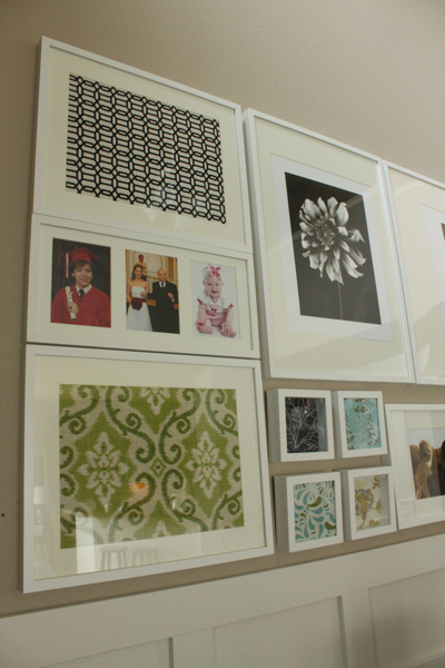 framed fabric gallery wall