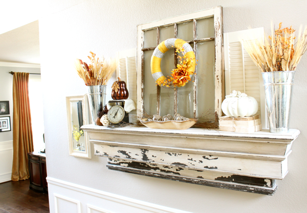 Fall decorating ideas for mantle - The Fall Mantel Decorchick