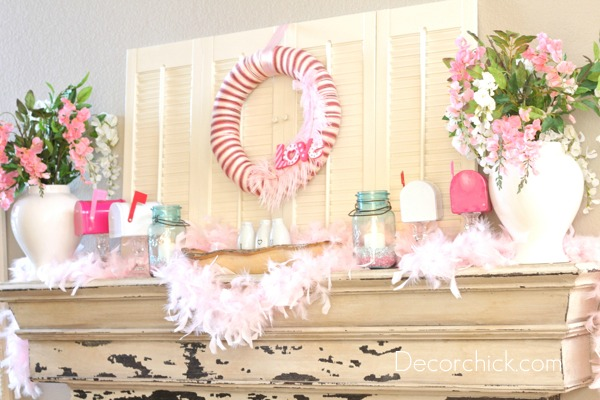 DARLING Mailboxes on Candlesticks DIYs - Perfect for your Valentine's Day Mantel Decor! via Decor Chick