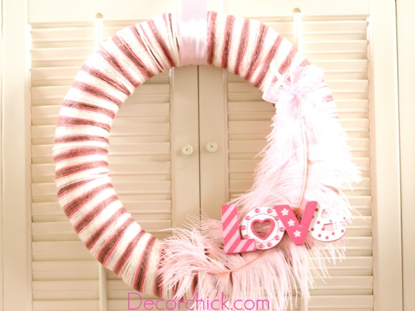 A Valentine Yarn Wreath