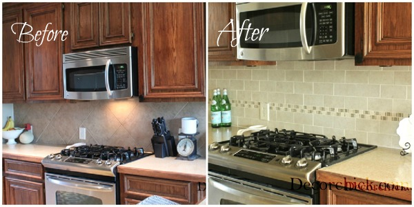The kitchen backsplash makeover reveal decorchick for Kitchen without tiles