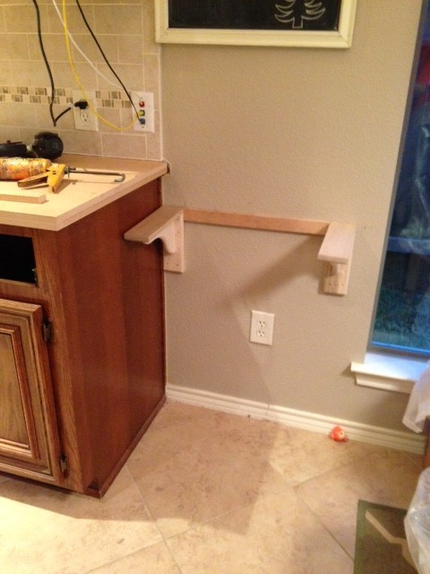 Countertop Height Desk : They nailed in the 2 corbels (that were custom built) and the support ...