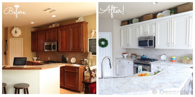 Kitchen before and after 3 for Before and after pictures of painted laminate kitchen cabinets