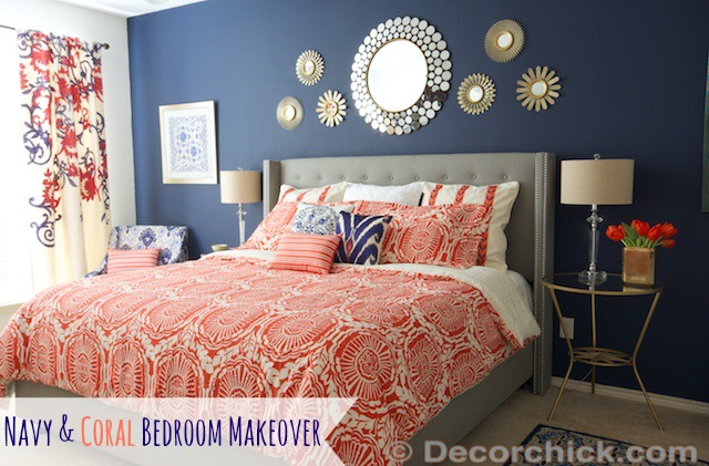 Navy blue and orange bedroom