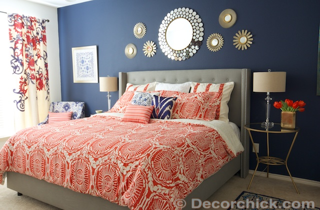 Surprise! I Redid Our Master Bedroom Again! {Navy and Coral Bedroom}
