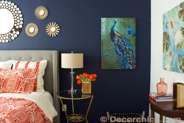 Navy and Coral Room