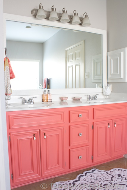 Bathroom Cabinets Colors diy painted coral vanity - decorchick! ®