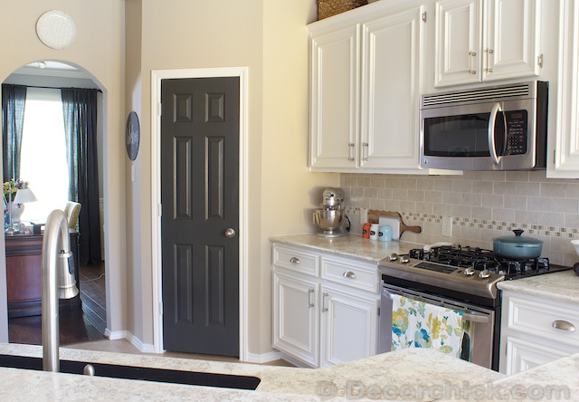 The Painted Pantry Door!  Decorchick! - Dark Kitchen Cabinets With Black Appliances
