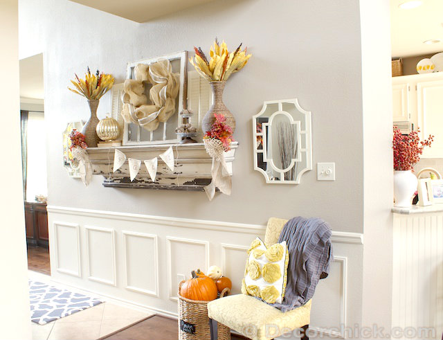 Fall Mantel and Decorating Ideas | www.decorchick.com