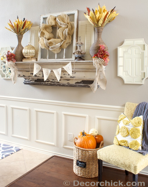 Rustic and Textured Fall Mantel Decorchick – Fall Mantel Decorations