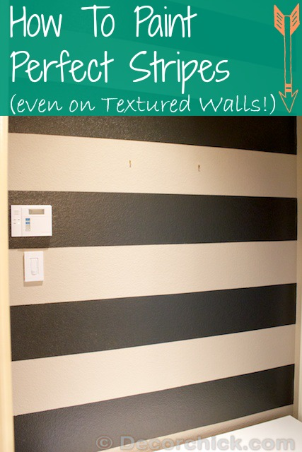 How To Paint The Perfect Stripes Tutorial, and Painting Stripes on Textured Walls | www.decorchick.com