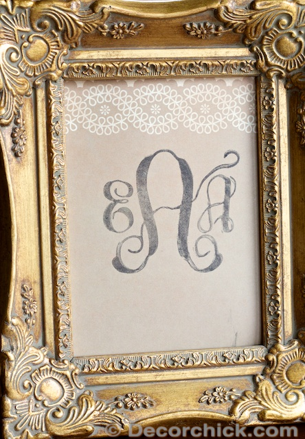 DIY Monogram Stamp Framed | www.decorchick.com