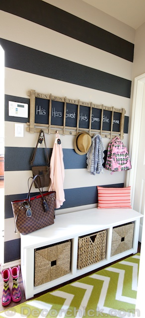 Mudroom with Striped Wall | www.decorchick.com