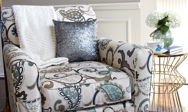 Side Accent Chair with Sequin Pillow | www.decorchick.com