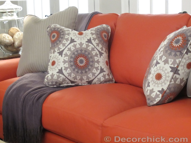 Coral Leather Sofa | www.decorchick.com