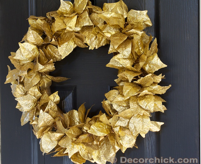 Dollar Store Christmas Wreath Gold Leaf Wreath