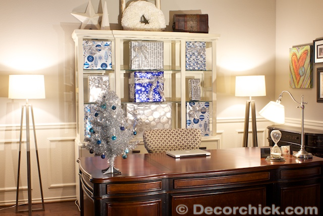 Holiday hutch with wrapped presents | www.decorchick.com