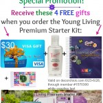 Amazing Convention Week Special!! Receive these FOUR FREE gifts when you order the Young Living Premium Starter Kit. Only through Member #1570300, and while supplies last. A $30 Visa gift card, a New 6th Edition Reference Guide, A Thieves Hand Purifier, AND a set of Bottle Cap Labels!   www.decorchick.com