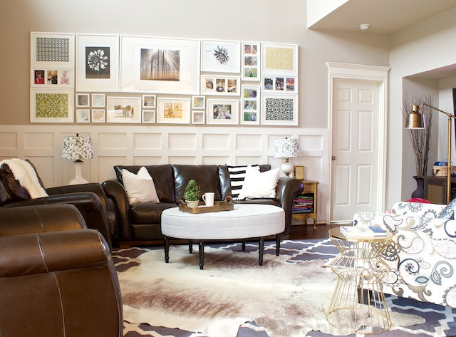 cowhide rug in family room