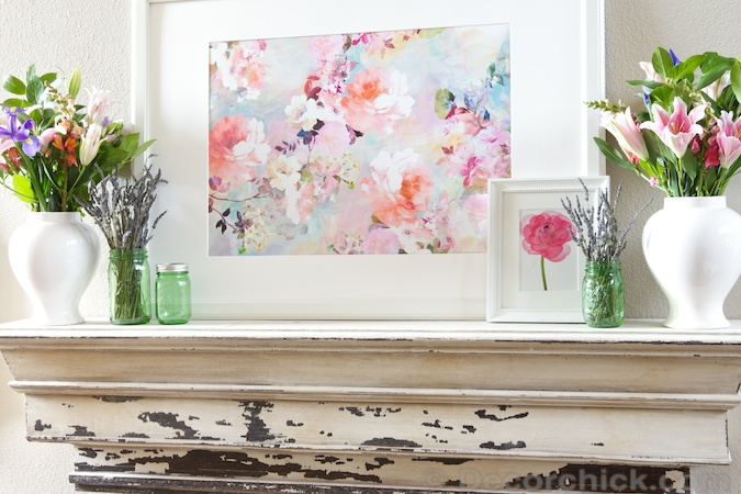 Spring Mantel with Watercolor Picture | www.decorchick.com