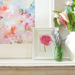 Spring Mantel With New Watercolor Picture