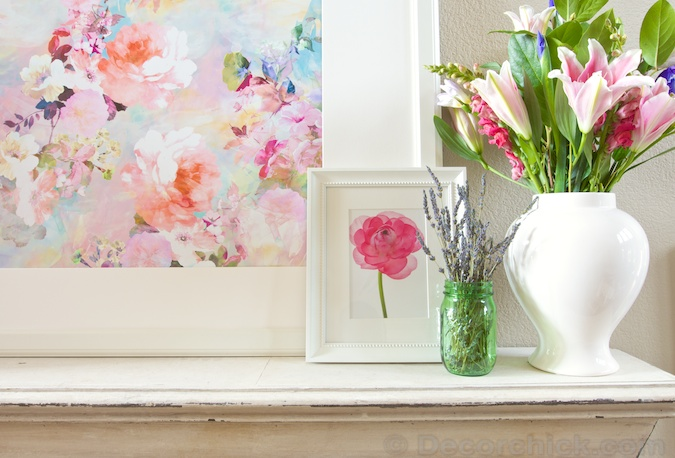 Watercolor Picture on Spring Mantel | www.decorchick.com