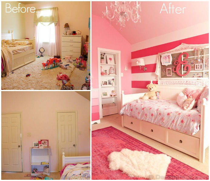Girl Room Before and After with Secret Bookshelf Door | www.decorchick.com