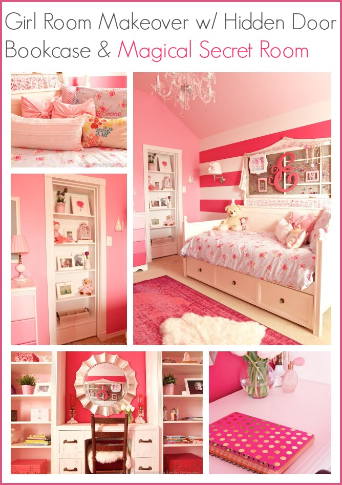 Girl Room Makeover With Hidden Door Bookcase and Magical Secret Room | www.decorchick.com