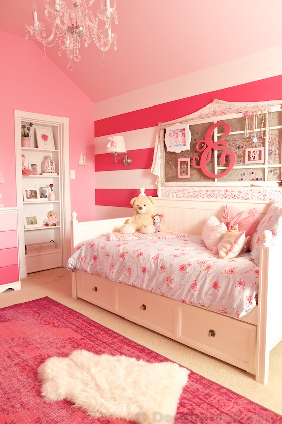A dreamy girl room makeover with hidden door bookcase for Kids room makeover