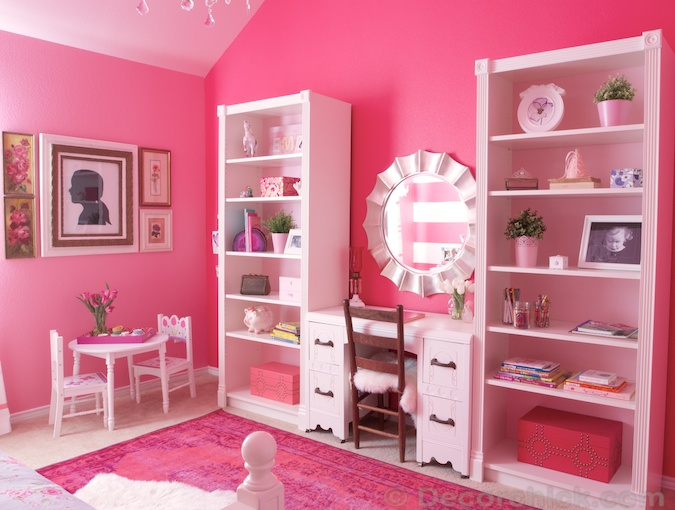 Pink Girl Room with Billy Bookcases Hacked | www.decorchick.com