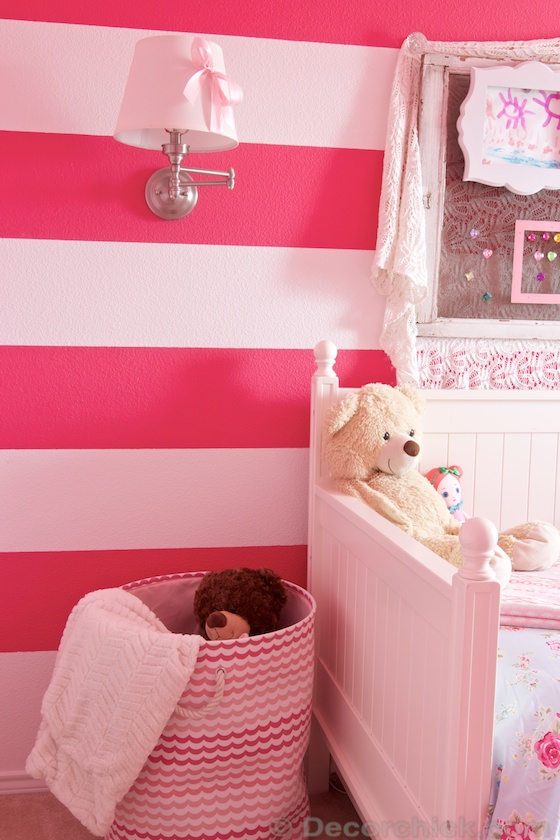 Pink Stripes and Hiding Wall Sconce Cord | www.decorchick.com