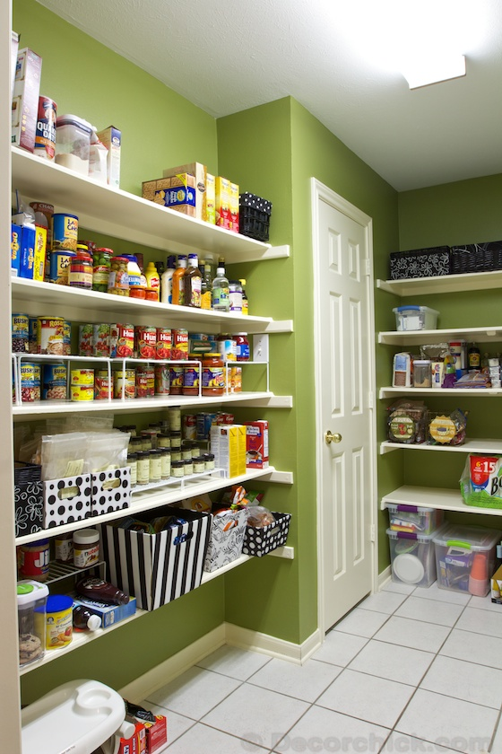 Walk in Pantry Makeover painted Olive Green | www.decorchick.com