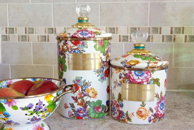 Flower Market Canisters and Colander | www.decorchick.com
