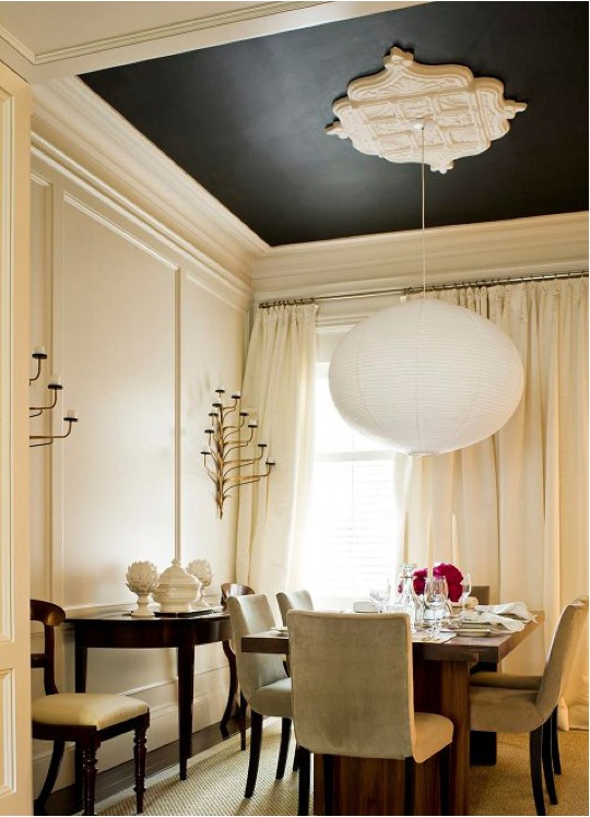Dining Room Ceiling Ideas Part - 25: Black Painted Ceiling | Www.decorchick.com