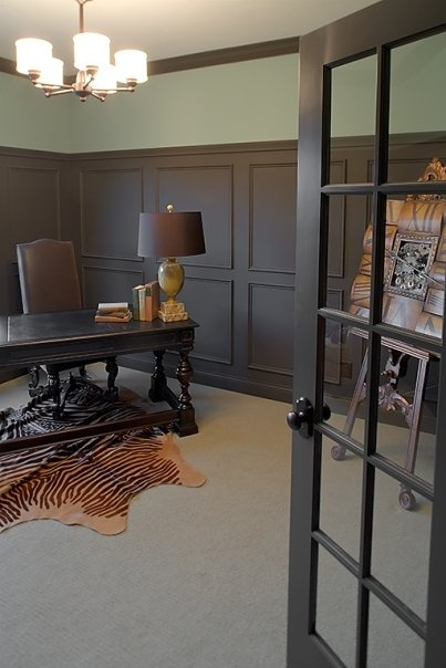 Chocolate Brown Wainscoting in Office | www.decorchick.com