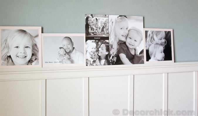 Layered Pictures on Board and Batten Ledge | www.decorchick.com
