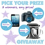Amazing Pick Your Prize Giveaway! {Canon Camera, iPad Mini, Kitchen Aid}