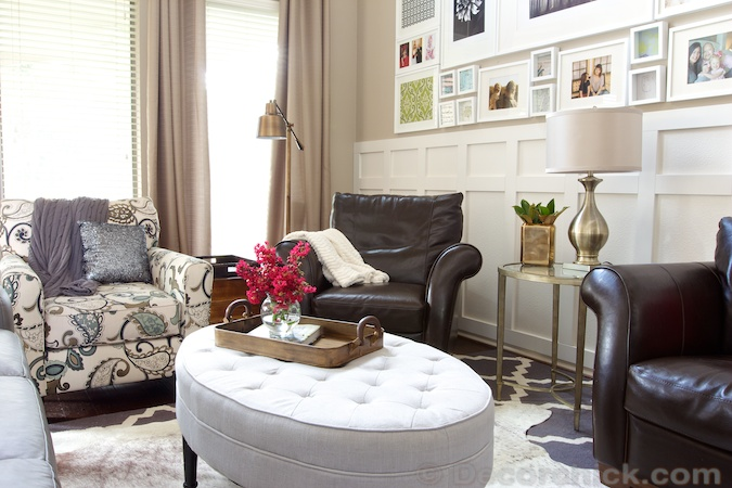 Round Tufted Ottoman in Living Room   www.decorchick.com