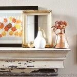 Simple Fall Mantel with Gold and Bronze