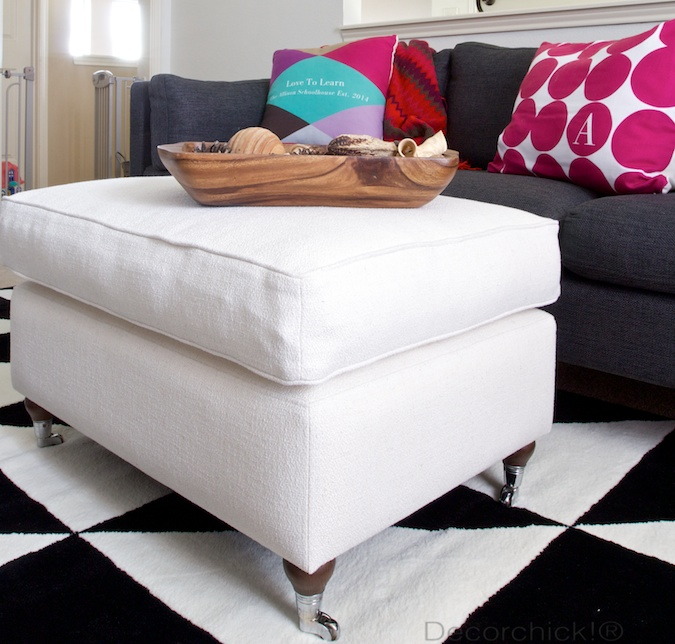 White Ottoman with Castor Wheels | Decorchick!®