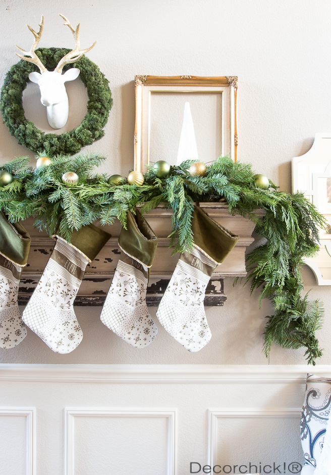 Green and Gold Christmas Mantel | Decorchick!®