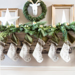 Green and Gold Christmas Mantel!