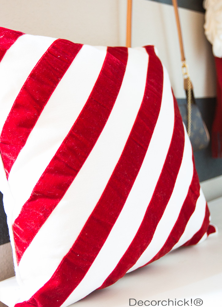 Red and White Striped Pillow | Decorchick!®