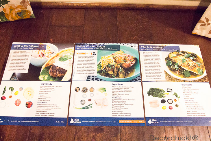 Blue Apron Recipes | Decorchick!®