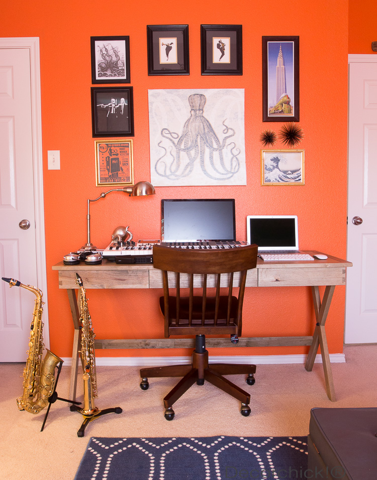 Sherwin Williams Knockout Orange and Office Space | Decorchick!®