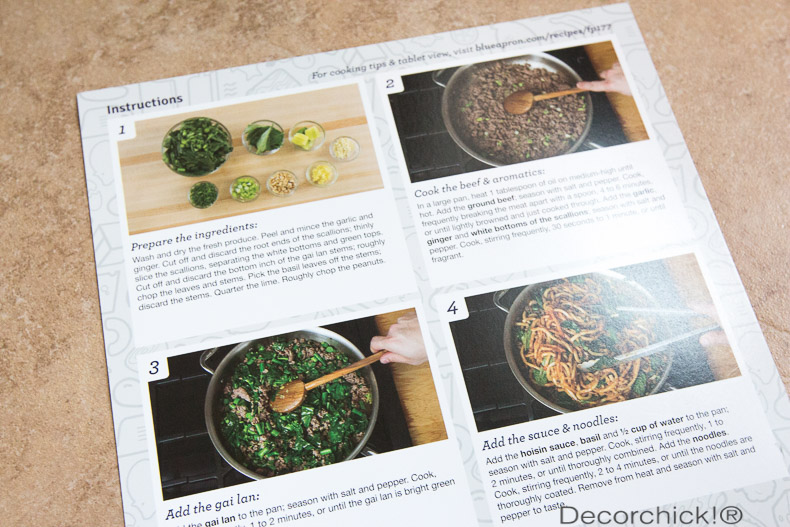 Blue Apron Recipe Instructions | Decorchick!®