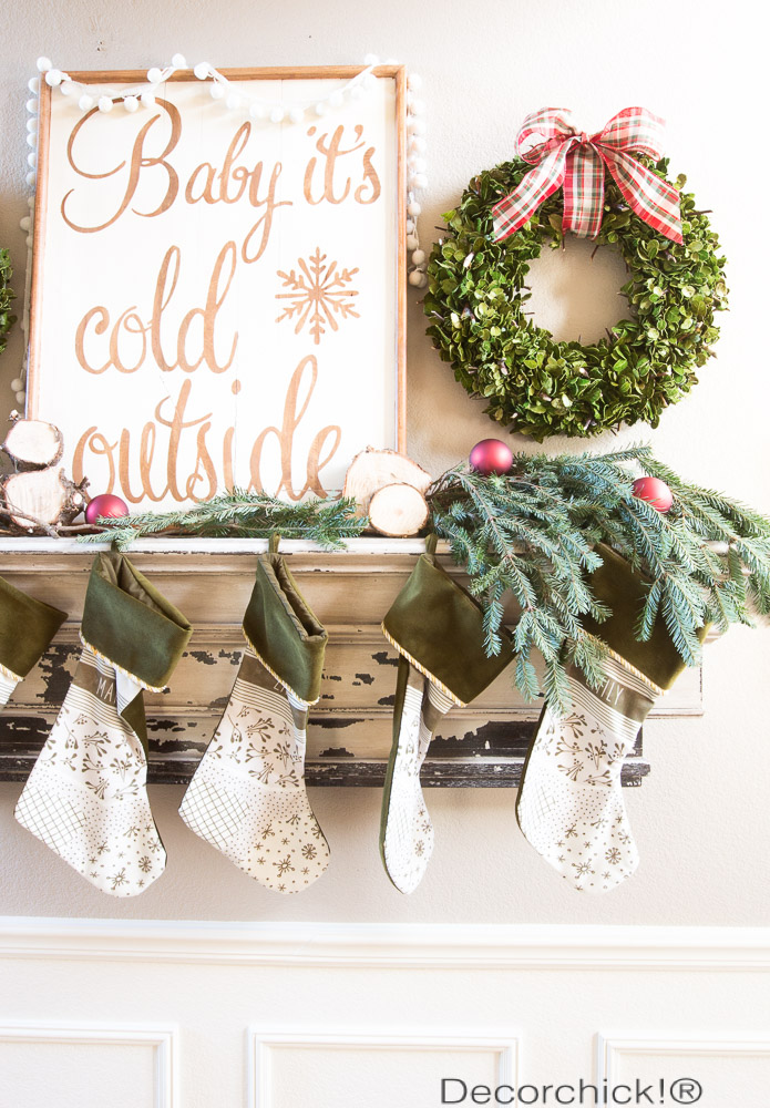 Red and Green Christmas Mantel | Decorchick!®