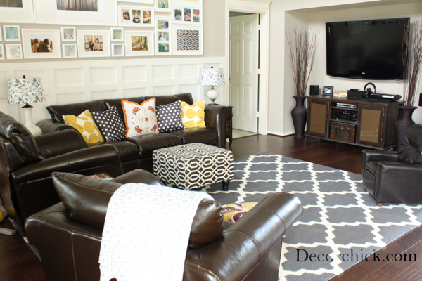 brown couch grey rug - area rug ideas Area Rugs That Go with Brown Furniture